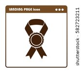 vector badge with ribbons  ... | Shutterstock .eps vector #582723211
