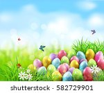 background. easter eggs in... | Shutterstock . vector #582729901