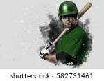 baseball player with a green... | Shutterstock . vector #582731461