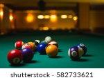 billiard balls in a pool table. | Shutterstock . vector #582733621