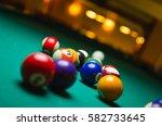 billiard balls in a pool table. | Shutterstock . vector #582733645