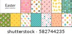 set of easter seamless patterns.... | Shutterstock .eps vector #582744235