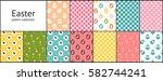 set of easter seamless patterns.... | Shutterstock .eps vector #582744241