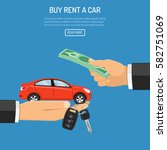 buy or rental car concept with... | Shutterstock .eps vector #582751069