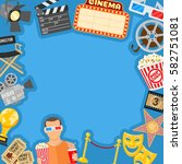 movie frame with flat icons... | Shutterstock .eps vector #582751081