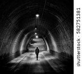 lonely girl walking in a night...   Shutterstock . vector #582751381