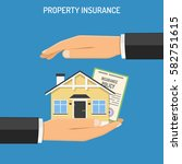 property insurance concept with ... | Shutterstock .eps vector #582751615