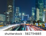 night cityscape with modern... | Shutterstock . vector #582754885