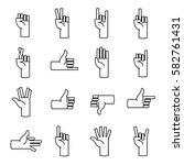 hands gestures line icons....   Shutterstock .eps vector #582761431