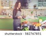 attractive happy slim caucasian ... | Shutterstock . vector #582767851