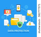 data protection. flat design... | Shutterstock .eps vector #582777571