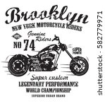 brooklyn motorcycle typography  ... | Shutterstock .eps vector #582779971