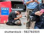 Small photo of NEW YORK, NY, USA - AUGUST 2016 - Homeless man on the streets of Manhattan, New York, USA