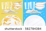 cleaning the dishes after a... | Shutterstock .eps vector #582784384
