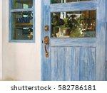 Old Wooden Door And Rusty Iron...