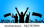 background with cheering people  | Shutterstock .eps vector #582787894