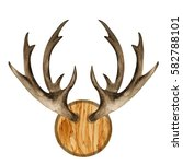 watercolor antlers on wooden... | Shutterstock . vector #582788101