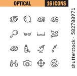 optical flat icon set.... | Shutterstock .eps vector #582788971