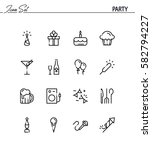 party flat icon set. collection ... | Shutterstock .eps vector #582794227