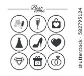 wedding  engagement icons.... | Shutterstock .eps vector #582795124