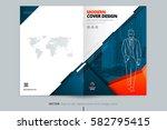 brochure cover design. blue  ... | Shutterstock .eps vector #582795415