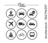 transport icons. car  bike  bus ...   Shutterstock .eps vector #582796597