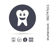 tooth happy face sign icon.... | Shutterstock .eps vector #582797611