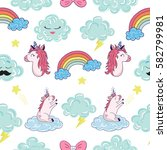seamless pattern with cartoon... | Shutterstock .eps vector #582799981