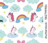 seamless pattern with cartoon... | Shutterstock .eps vector #582799981