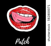 patch  badge  embroidery with... | Shutterstock .eps vector #582800071