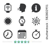smart watch wi fi icons.... | Shutterstock .eps vector #582802951
