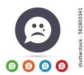 sad face with tear sign icon.... | Shutterstock .eps vector #582803341
