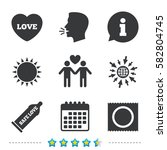 condom safe sex icons. lovers... | Shutterstock .eps vector #582804745