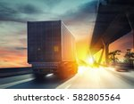 container truck on the highway. | Shutterstock . vector #582805564