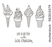 set of hand drawn soft serve...