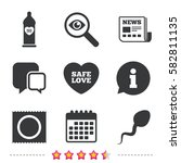 safe sex love icons. condom in... | Shutterstock .eps vector #582811135