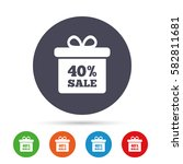 40  sale gift box tag sign icon.... | Shutterstock .eps vector #582811681