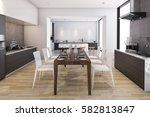 3d rendering wood wide kitchen... | Shutterstock . vector #582813847