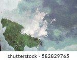 reflex of water on a floor  sky ... | Shutterstock . vector #582829765