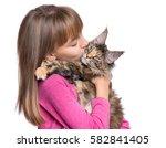happy little girl hugging...   Shutterstock . vector #582841405