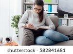 smart girl with glasses... | Shutterstock . vector #582841681