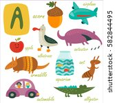 vector alphabet. letter 'a'.... | Shutterstock .eps vector #582844495