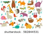 Stock vector vector zoo alphabet with cute animals in cartoon style 582844531