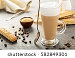 hot coffee latte with brown... | Shutterstock . vector #582849301