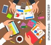 business desk top view. work... | Shutterstock .eps vector #582852589