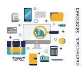 vector illustration in modern... | Shutterstock .eps vector #582852661