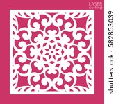 die cut ornamental square panel ... | Shutterstock .eps vector #582853039