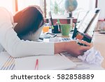 overworked and tired young... | Shutterstock . vector #582858889