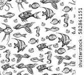 doodle seamless pattern of fish.... | Shutterstock .eps vector #582861151