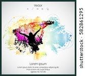 silhouette of dancing people | Shutterstock .eps vector #582861295